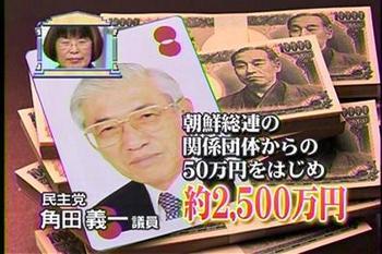 民主党・角田義一、朝鮮総連系団体から約2500万円の献金を受ける